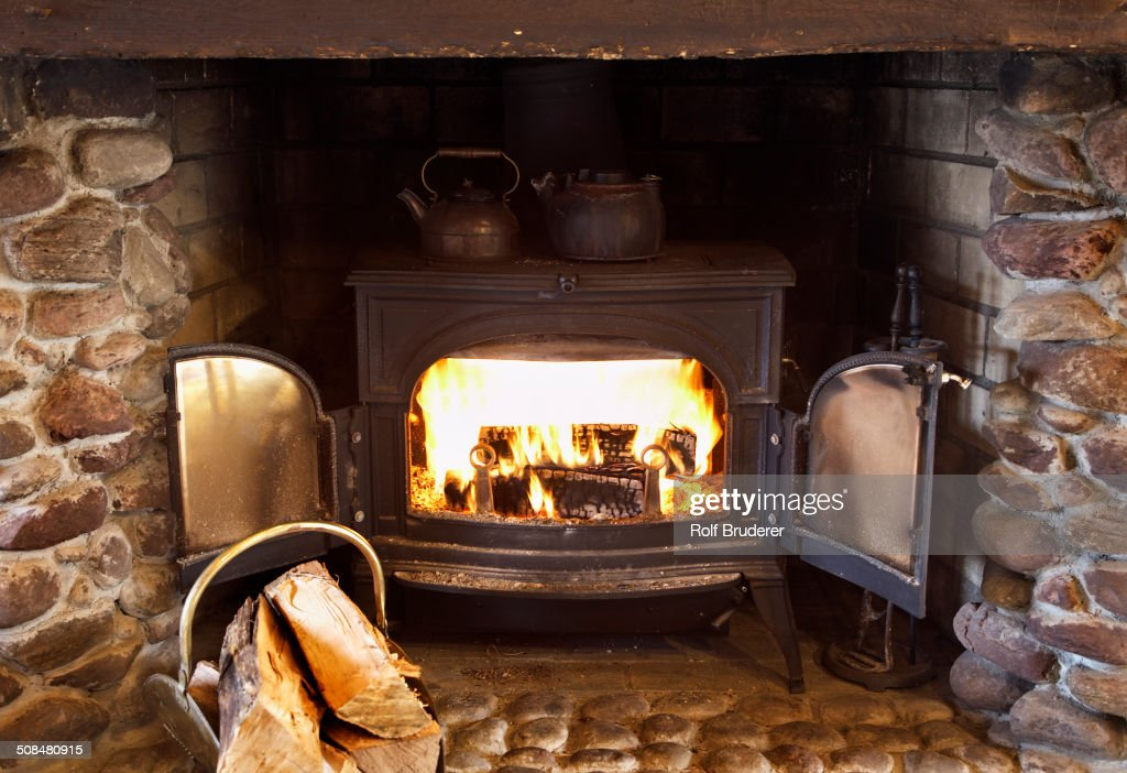 Fire burning in wood stove