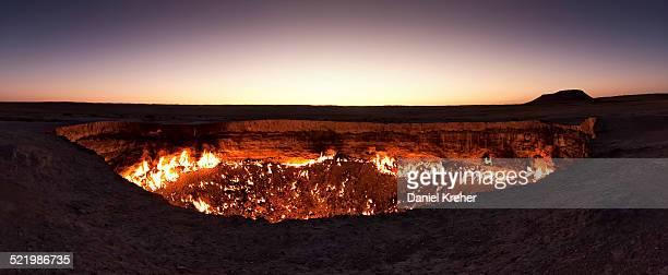 Fire crater, gas crater, Door to Hell Darvaza crater, Derweze or Darvaza, Karakum Desert, Dasoguz Province, Turkmenistan