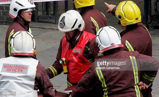 Fire crew attend the reported incident around Hackney Road in Bethnal Green on July 21 2005 in London England Windows were blown out of the nearby...