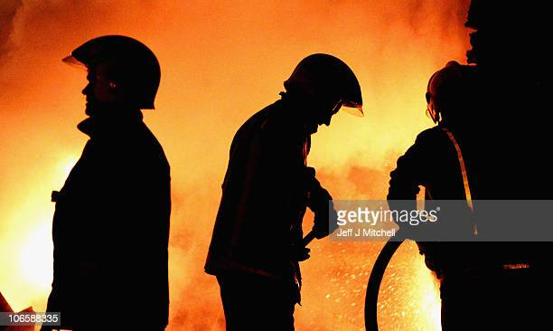Fire crews attend an incident in Calton area of Glasgow on November 5 2010 in Glasgow Scotland Brigades across the country faced their busiest night...