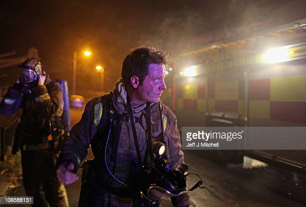 Fire crews attend an incident in Easterhouse area of Glasgow on November 5 2010 in Glasgow Scotland Brigades across the country faced their busiest...