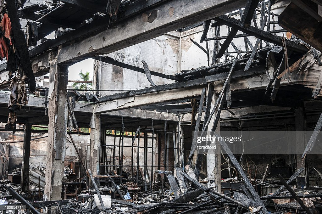 Fire Damaged Building : Stock Photo