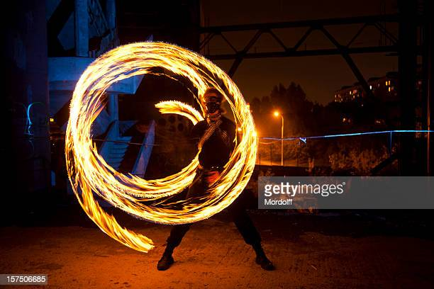 Fire Dancer in abandoned building