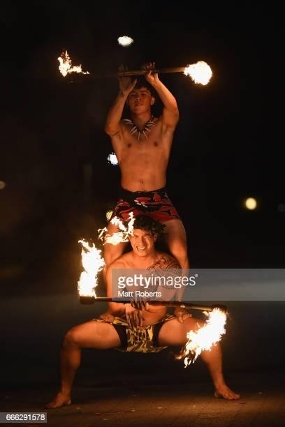 Fire dances preform during the United Airlines Guam Marathon 2017 on April 9 2017 in Guam Guam