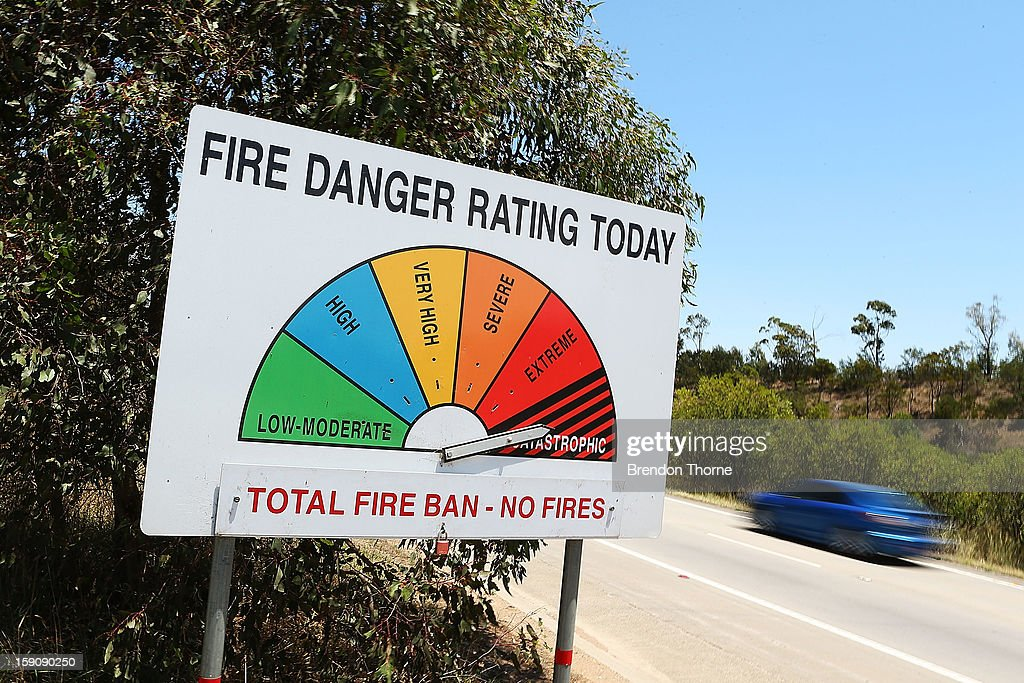A fire danger sign on the Hume Highway outside of Marulan indicates a 'Catastrophic' fire warning on January 8, 2013 in Marulan, Australia. NSW was declared a total fire ban with the Illawarra, Shoalhaven and Southern Ranges regions placed on 'Catastrophic' alert.