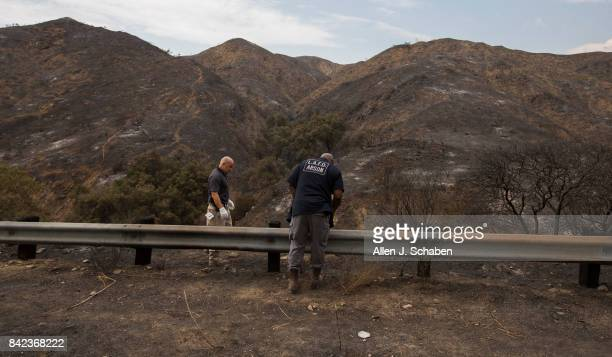 Fire Dept arson investigators search for clues along La Tuna Canyon Rd in Los Angeles Sunday Sept 3 2017 Firefighters were assisted by cooler...