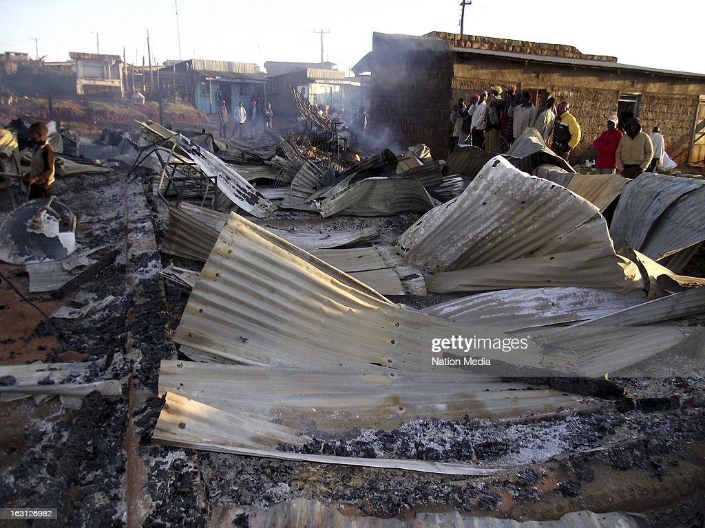 A fire destroyed shops at Keringet Market on March 4, 2013 in Molo in Kenya. Kenya's last General elections resulted in mass violence across the country. Violence has been reported in 2013 elections in Mombasa with four policeman killed. The cause of the fire is unclear as of yet.
