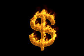 Fire dollar sign isolated on black background, 3d illustration