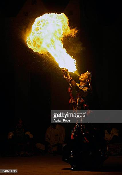 Fire eater in Rajasthan, India