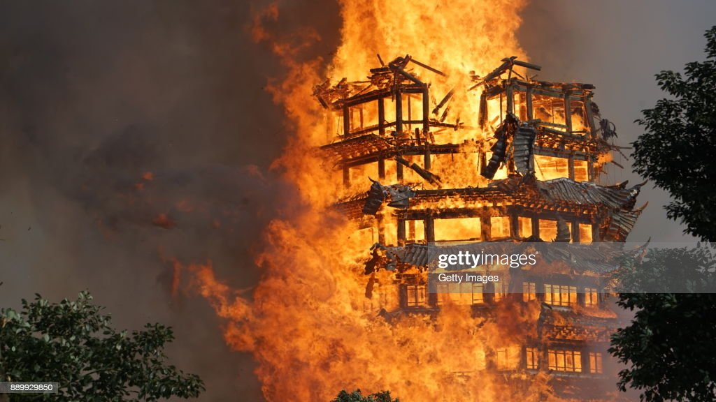 16-Story Wooden Tower Burn Out In Accident In Deyang