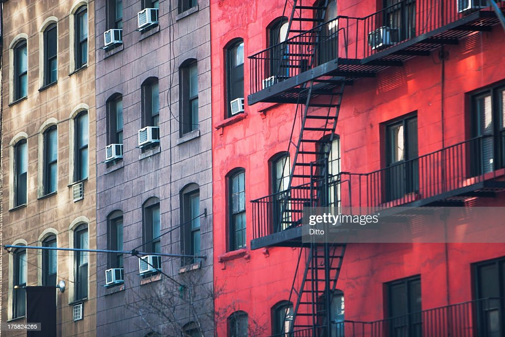 Fire escape and old apartment buildings