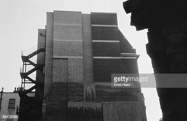 A fire escape on a brick edifice in Mayfair London 1953
