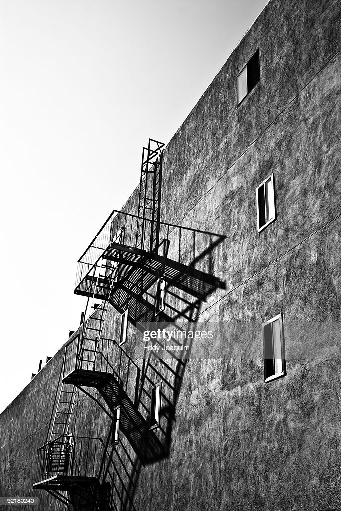 Fire escapes on an apartment building  : Stock Photo