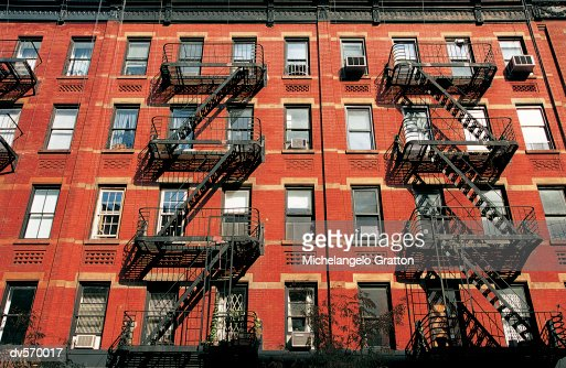 Fire Escapes on Greenwich Village Building Exterior