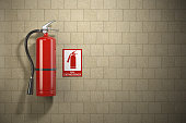 Fire extinguisher with emergency fire sign on the wall background. 3d illustration
