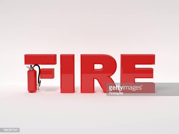 Feuerlöscher mit rotem text