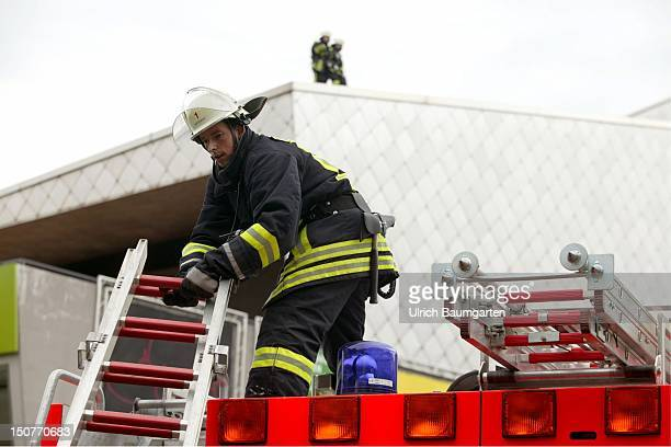 Fire fighter during fire fighting operations