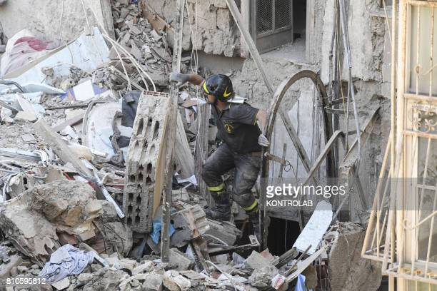 Fire fighter in the ruins of the palace of Torre Annunziata near Naples southern Italy suddenly collapsed At the early lights of the morning a...