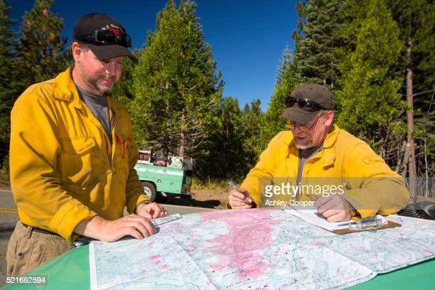 Fire fighters tackling the King Fire that burned 97,717 acres of the El Dorado National Forest