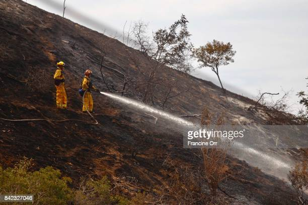 Fire fighters work the hot spots on steep terrain in the hills above Sun Valley Ca following the weekend fire September 3 2017