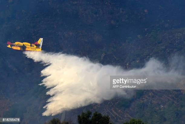 A fire fighting Canadair aircraft drops water over a fire near the village of Alijo during a wildfire on July 18 2017 A month after the deadliest...