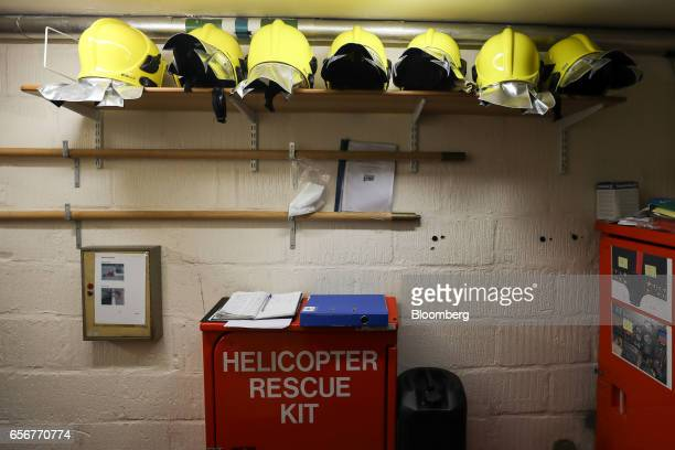 Fire fighting equipment sits near the helipad entrance at the De Beers SA headquarters on Charterhouse Street in London UK on Wednesday Feb 1 2017...