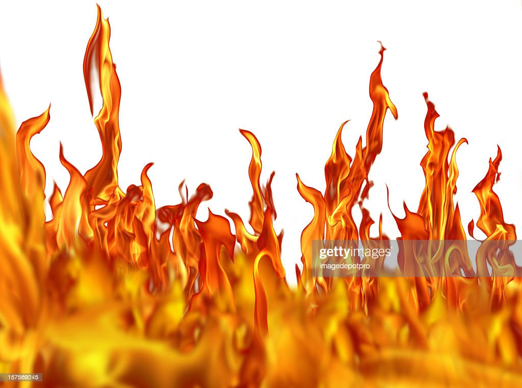fire flames over white : Stock Photo