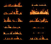 Fire Flames. Set of fire design elements isolated on black background