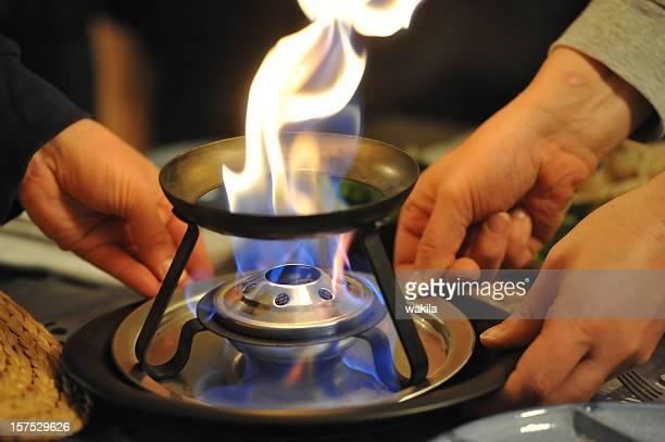 fire Hände und fondue