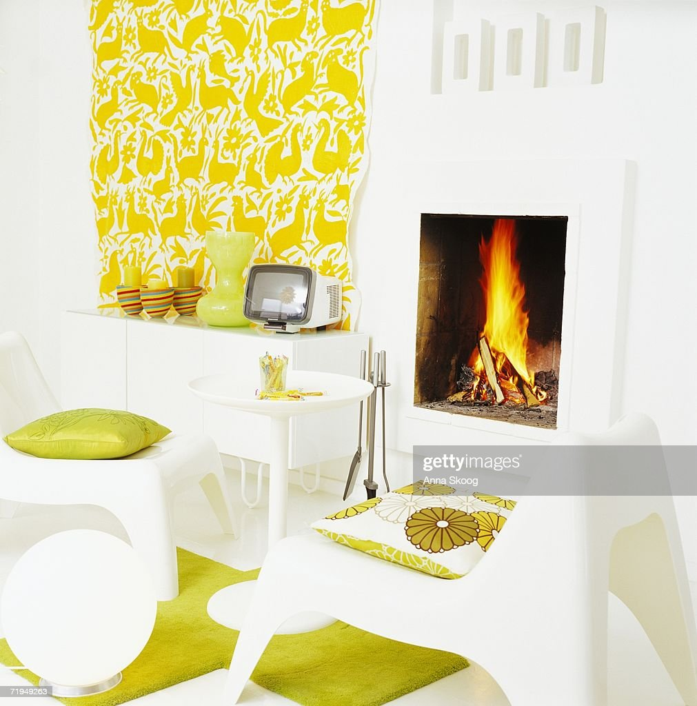 a fire in a fireplace stock photo getty images