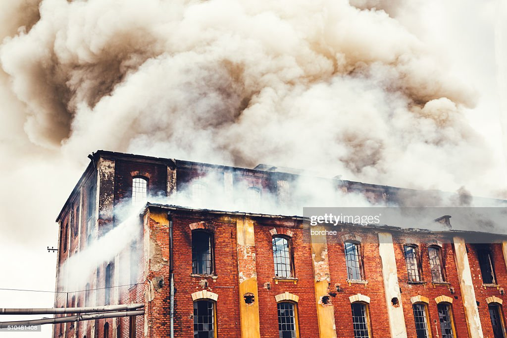 Fire In An Old Building : Stock Photo