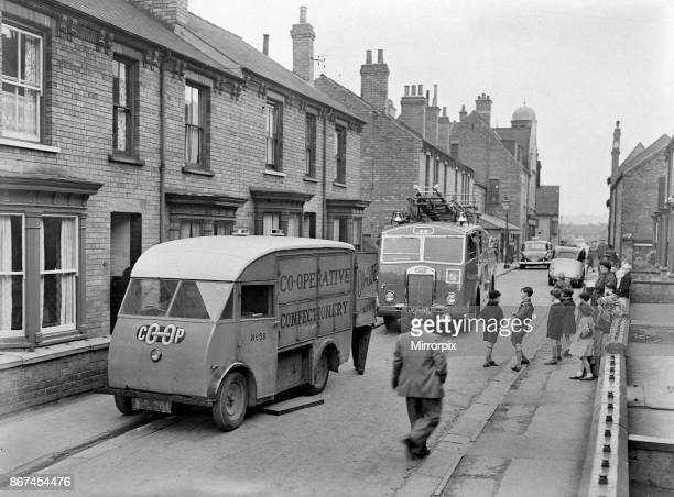 Fire in CoOp bread van in Gaunt Street Lincoln 6 October 1956