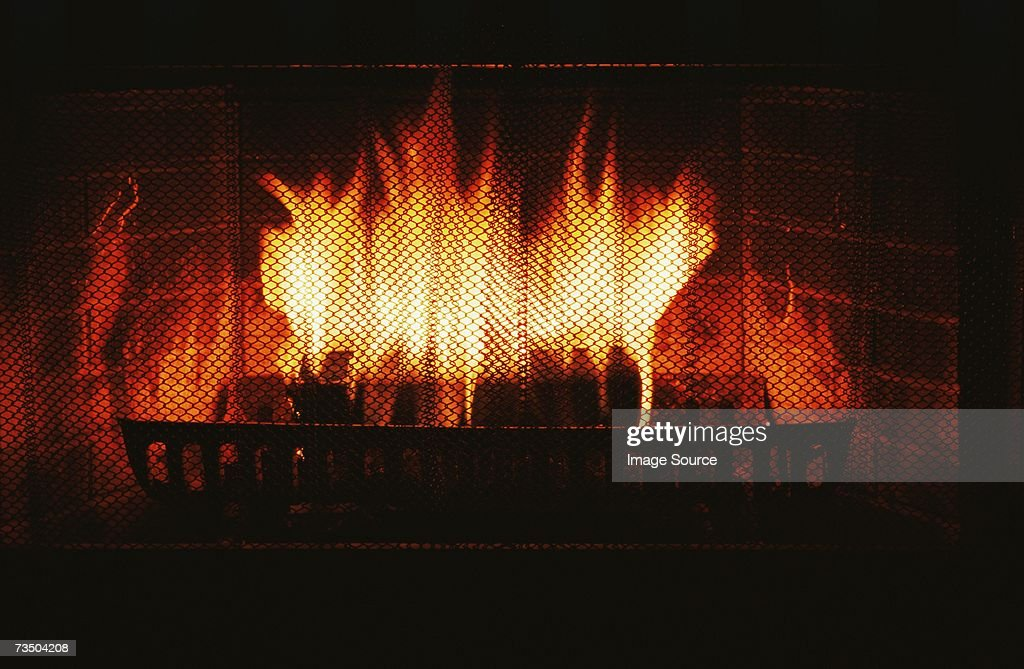 Fire in fireplace : Stock Photo