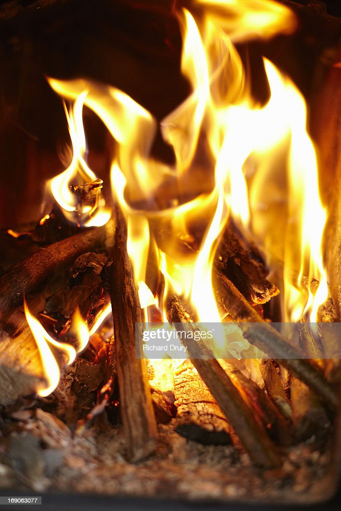 Fire in wood burning stove : Stock Photo