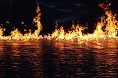 Fire On Water At Night