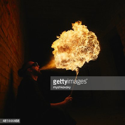 Fire Performer at night