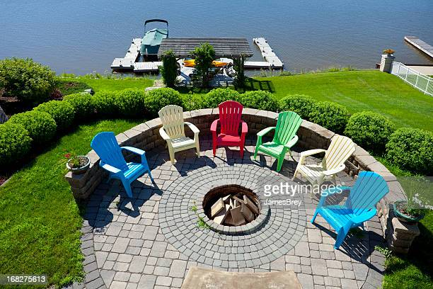 Fire Pit On Hill Overlooking Boat Dock