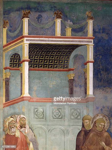 'Fire Proof by Giotto 12971300 13th14th century fresco Italy Umbria Assisi Upper Basilica of San Francesco Detail In the foreground St Francis and...