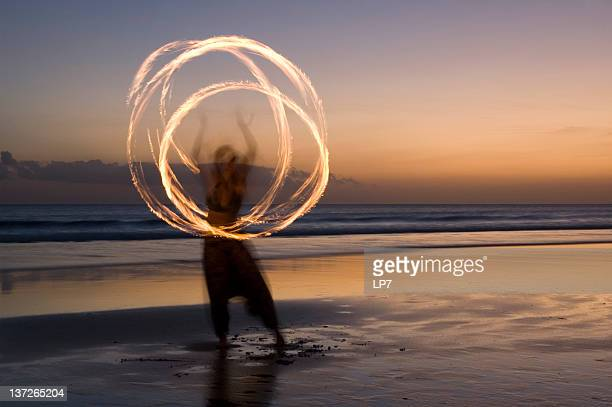 Fire show on beach in Bali