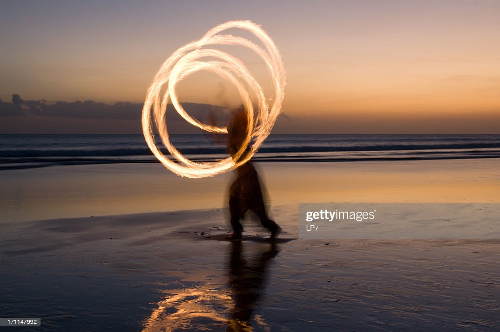 Fire show on the beach in Bali