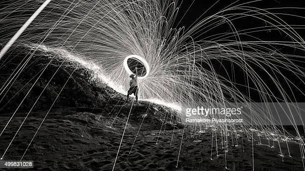 Fire spinning steel wool