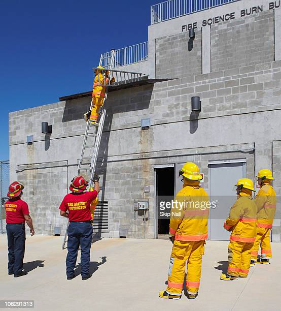 Fire training academy students during lab.