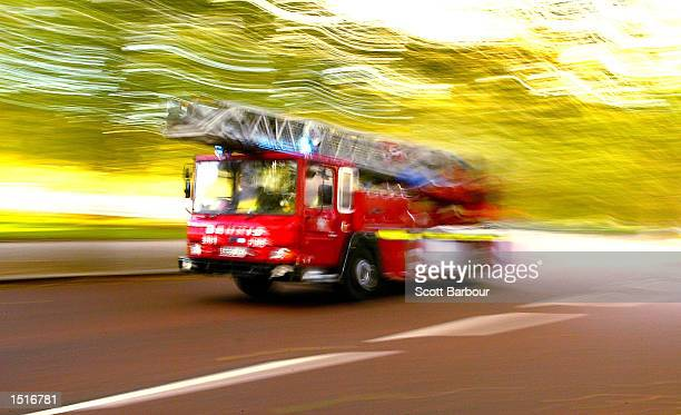 A fire truck races to an emergency call October 23 2002 in London United Kingdom Deputy British Prime Minister John Prescott has warned that...