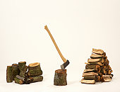 Fire wood and axe against white background.