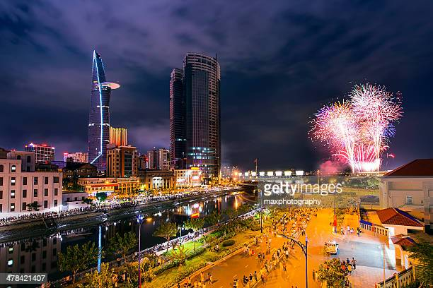 fire work saigon in National Day of Vietnam