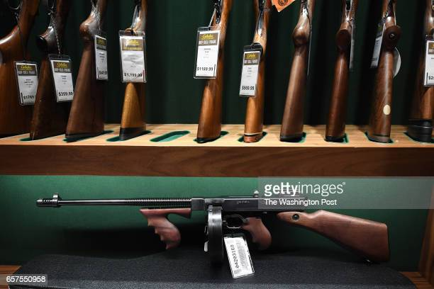 Firearms are seen in the gun library room during the opening of a new Cabela's store on Thursday March 09 2017 in Gainesville VA