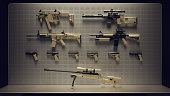 Collection of sniper rifles, rifles, sub machine gun, semi automatic pistols in gun metal black and tan / 3d Illustration / 3d Rendering
