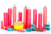 many different firecracker before white background