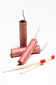 red chinese firecrackers and matchstick