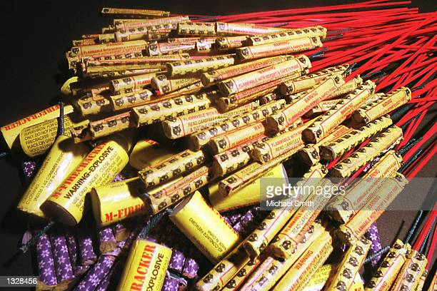 Firecrackers and bottle rockets which are illegal in the state of Colorado are on display June 28 2001 in Denver Colorado